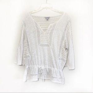 Lucky brand drawstring waist crochet top